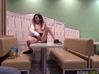 Fucking My Pussy on Top of Fast Food Restaurant Table!