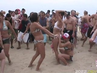 Beach Party Flashing In South Padre Island