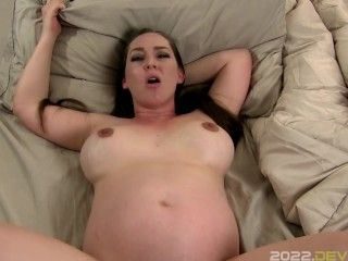 Pregnant Sister Kristi Gives Little StepBro Sex Ed with Pregnant Pussy POV