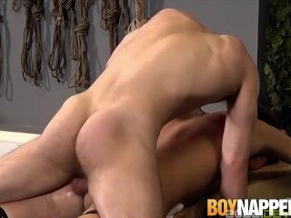 Restrained twink spanked before asshole banging