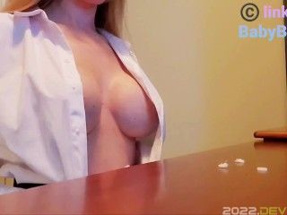Milky MILF BabyBrewer Begs Boss for Raise by Milking Tits and Ripping Clothes
