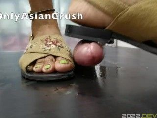 Indonesian ugly slippers footjob