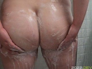 washing soapy big bubble butt in shower