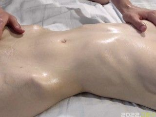 Sensual masturbation of wet pussy after massaging her breasts