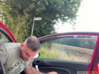big lad Andy Lee wanking while driving around in his car gets caught by member of the public
