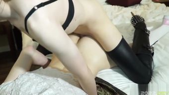 Trans dom analfucking leashed lover