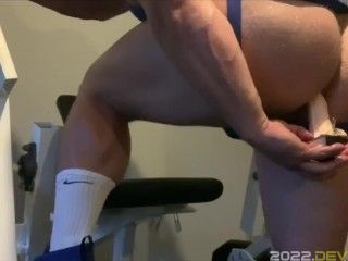 Jack Stacked Dildo Anal in Gym