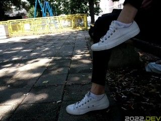 Converse Sneakers Shoeplay In A Park Trailer
