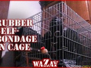Rubber Selfbondage in Cage