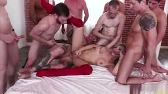 Superstar TS Aubrey Kate gets cream by those 9 bigcocks
