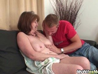 Busty mother in law into taboo cock riding