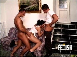 Young guys bang one tight pussy before fucking their asses