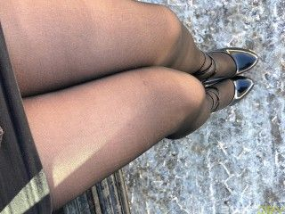 Amateur female silicone masker wearing fishnets and seamed pantyhose.