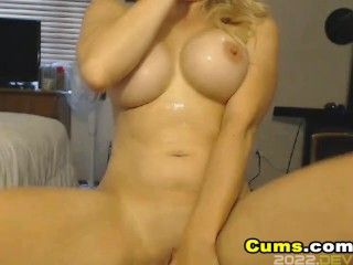 Busty Blonde Babe Fucks her Pussy with a Dildo