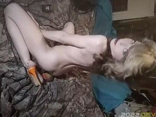 Sexy lil bitch in only heels rolls+smokes joint & cig-SMOKE BJ pack play