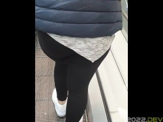Step mom doesn't wear panties under leggings in supermarket get fucked in front of husband