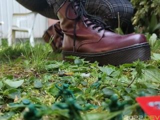 Your giantess crushes shrunken soldiers in the garden with these huge boots