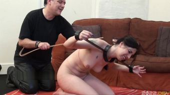 Tied slave Honesty Cabellero whipped and hot wax punish